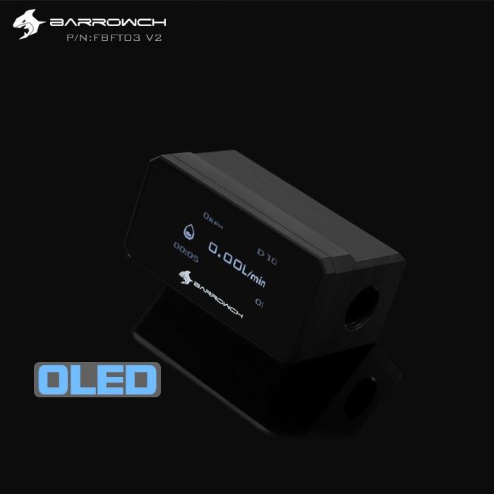 BARROW OLED Digital Display Water Flow Meter Water Cooler System Double G1/4'' Flow Sensor Fitting