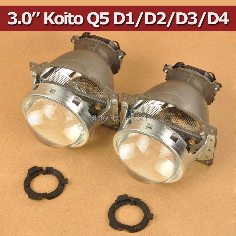 Free Shipping 3.0 Koito Q5 Bi xenon Projector Lens LHD Headlights D1S D2H D2S D3S D4S Bright HID Car Light Retrofit