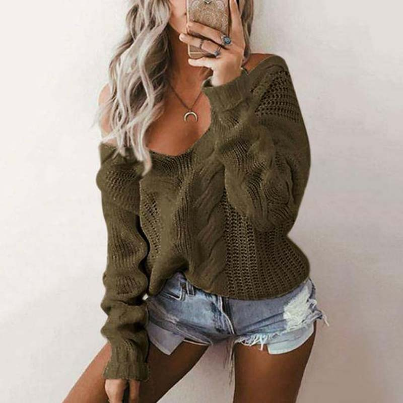 2019 Autumn Women Sweater Knitted Women Pullover Sweater Winter Warm Off Shoulder Sweater Ladies Plus Size Loose Sweater 5XL