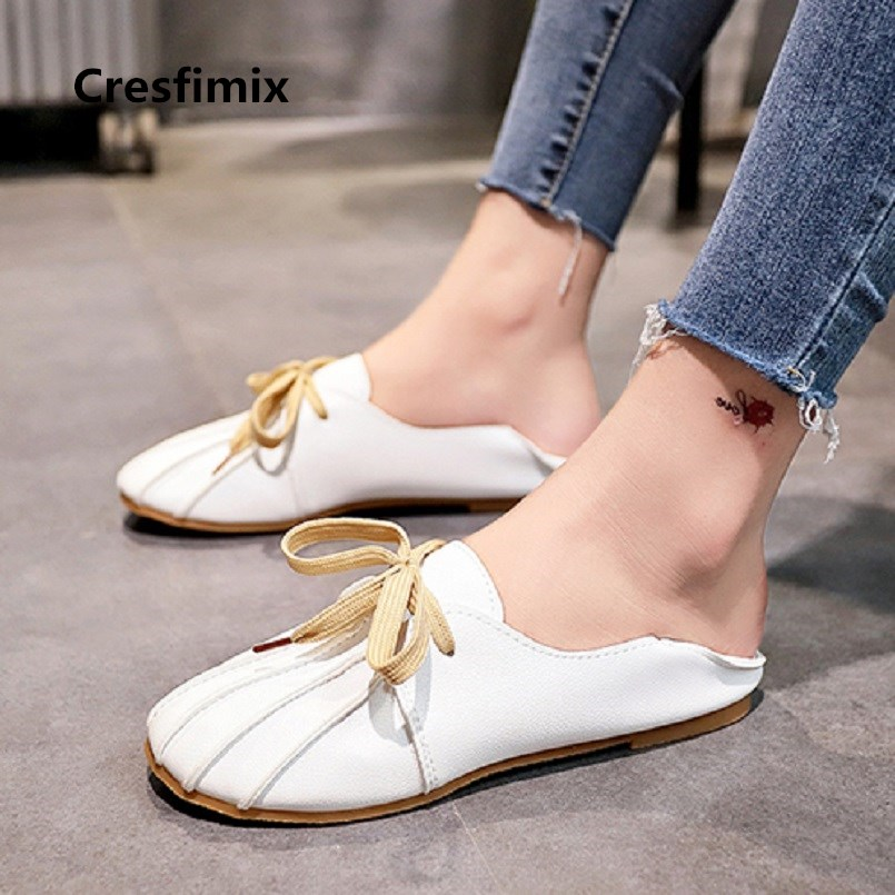 Cresfimix zapatos de mujer women fashion soft & comfortable pu leather flat shoes lady casual lace up shoes leisure shoes a2769