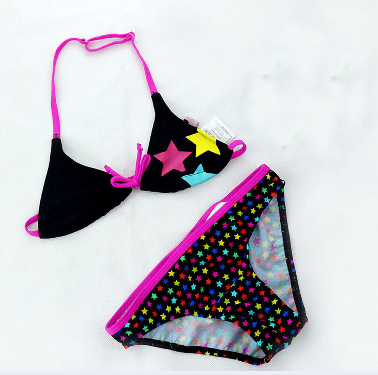 2019 New Summer Children Cute Star Pattern Split Bikini Bathing Suit Girls split Two-pieces Swimwear Girls Swimsuit Wholesale
