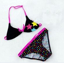2016 New Summer Children Cute Star Pattern Split Bikini Bathing Suit Girls split Two-pieces Swimwear Girls Swimsuit Wholesale
