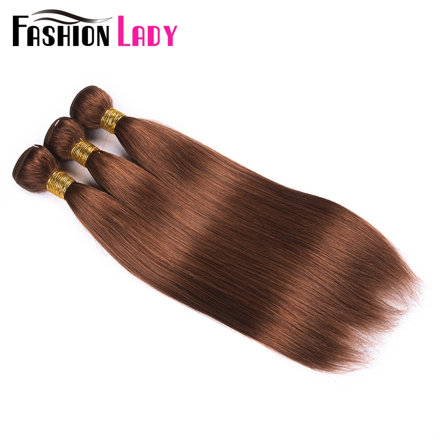 Pre-Colored Indian Straight Hair Weave #30 Brown Fashion Lady Human Hair Bundles 1/3/4 Bundle Per Pack Non-Remy Hair