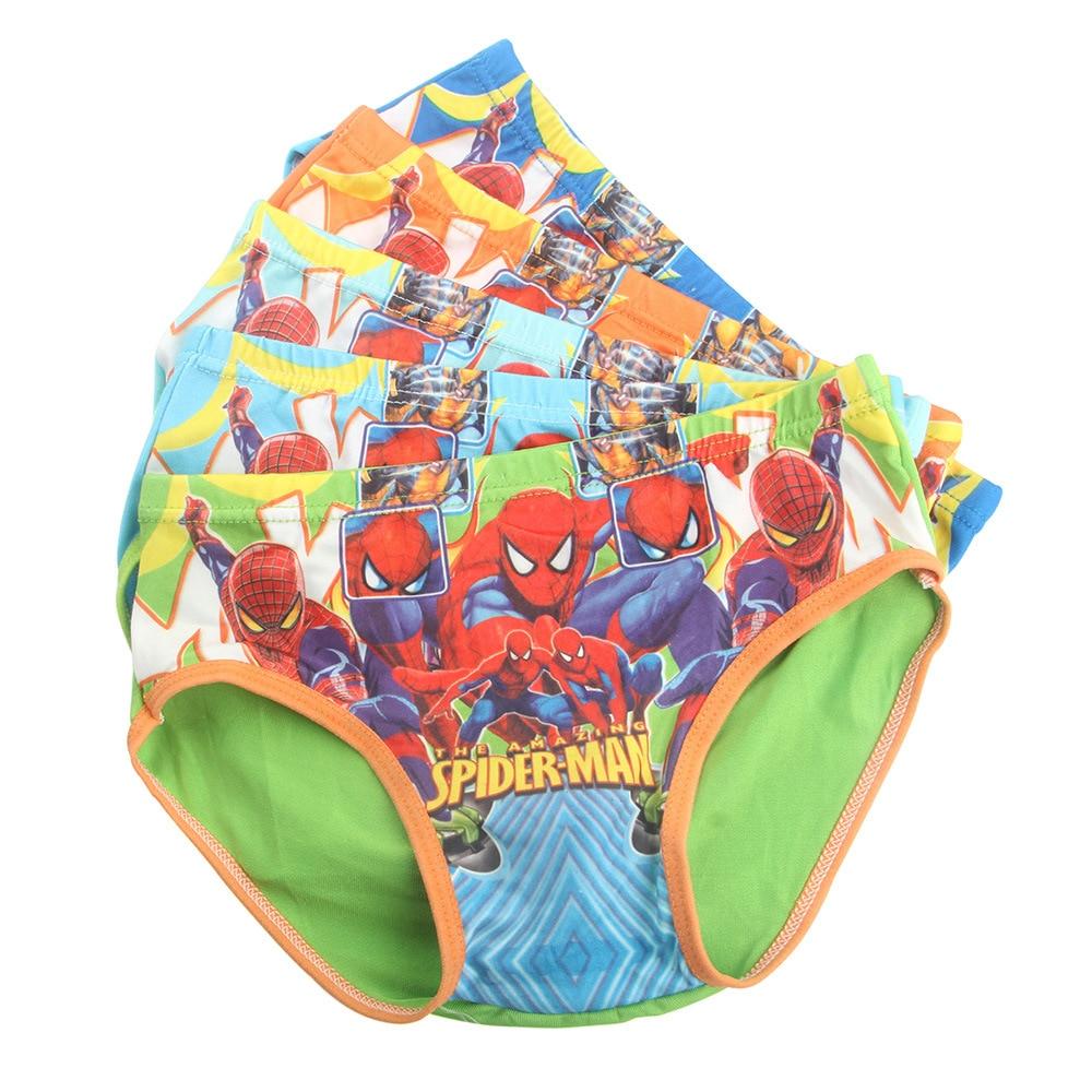 5pcs/lot Boxers Spiderman Underpants Briefs Boy Underwears Panties Infant Boxer Briefs Shorts Milk Silk 2019 Under Wears
