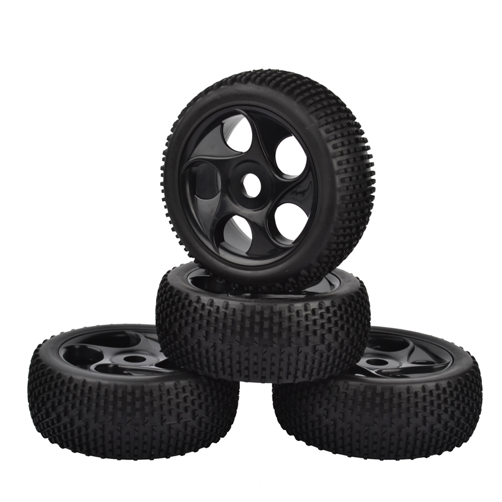 4PCS 1:8 Rubber Tires & Wheel Rims for HSP RC 1:8 Off-Road Buggy Car
