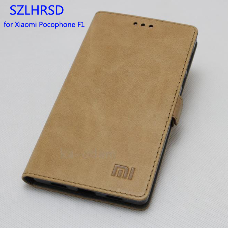 Top Quality 100% Cow Genuine Leather Cover Slim Flip Phone Skin Case for Xiaomi Pocophone F1