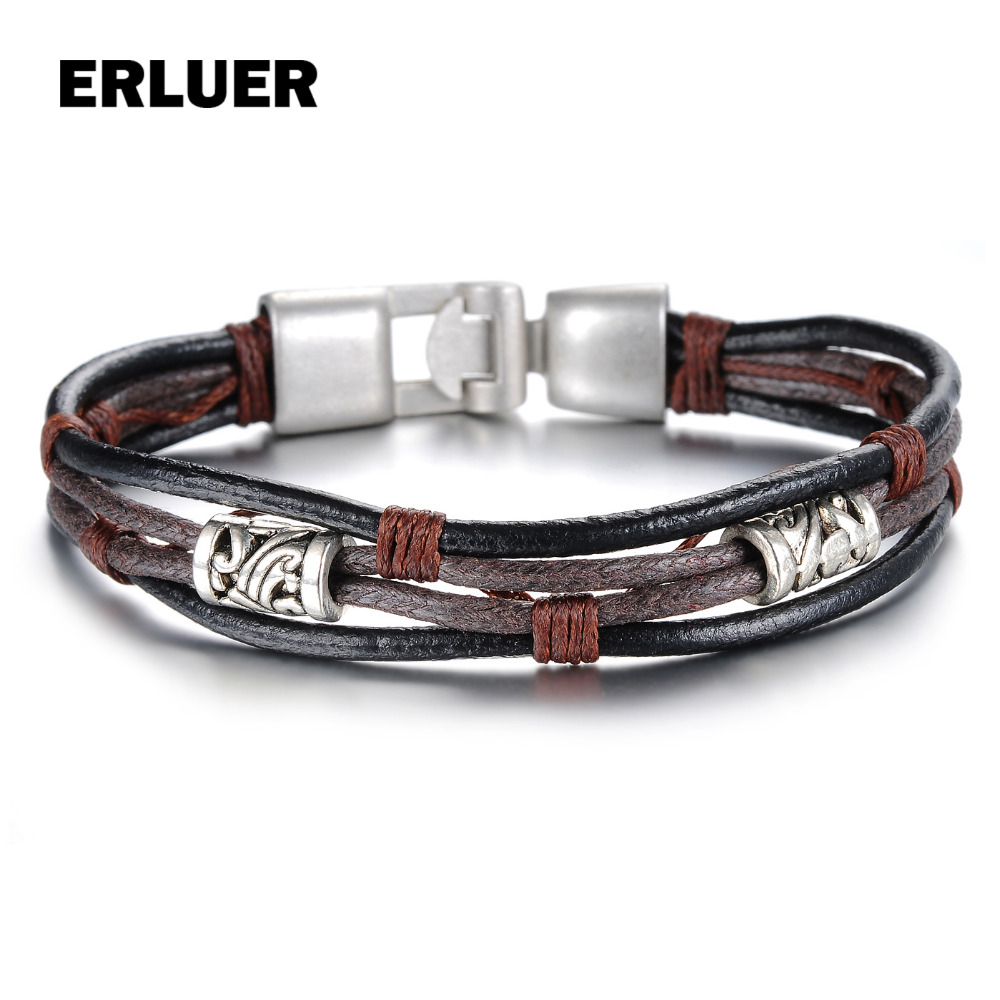 ERLUER Men Bracelets Multilayer Leather Woven Wristband European Punk Style Fashion Retro Jewlery Bracelets & Bangles for women