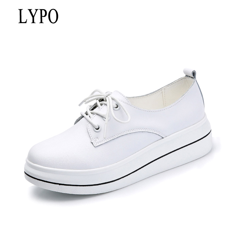 LYPO 2018 Spring Women Platform Sneakers Shoes Genuine leather lace up Flats Women White Thick Heel flats Creepers Shoes fashion women flats summer leather creepers platform sneakers causal shoes solid basket femme white black
