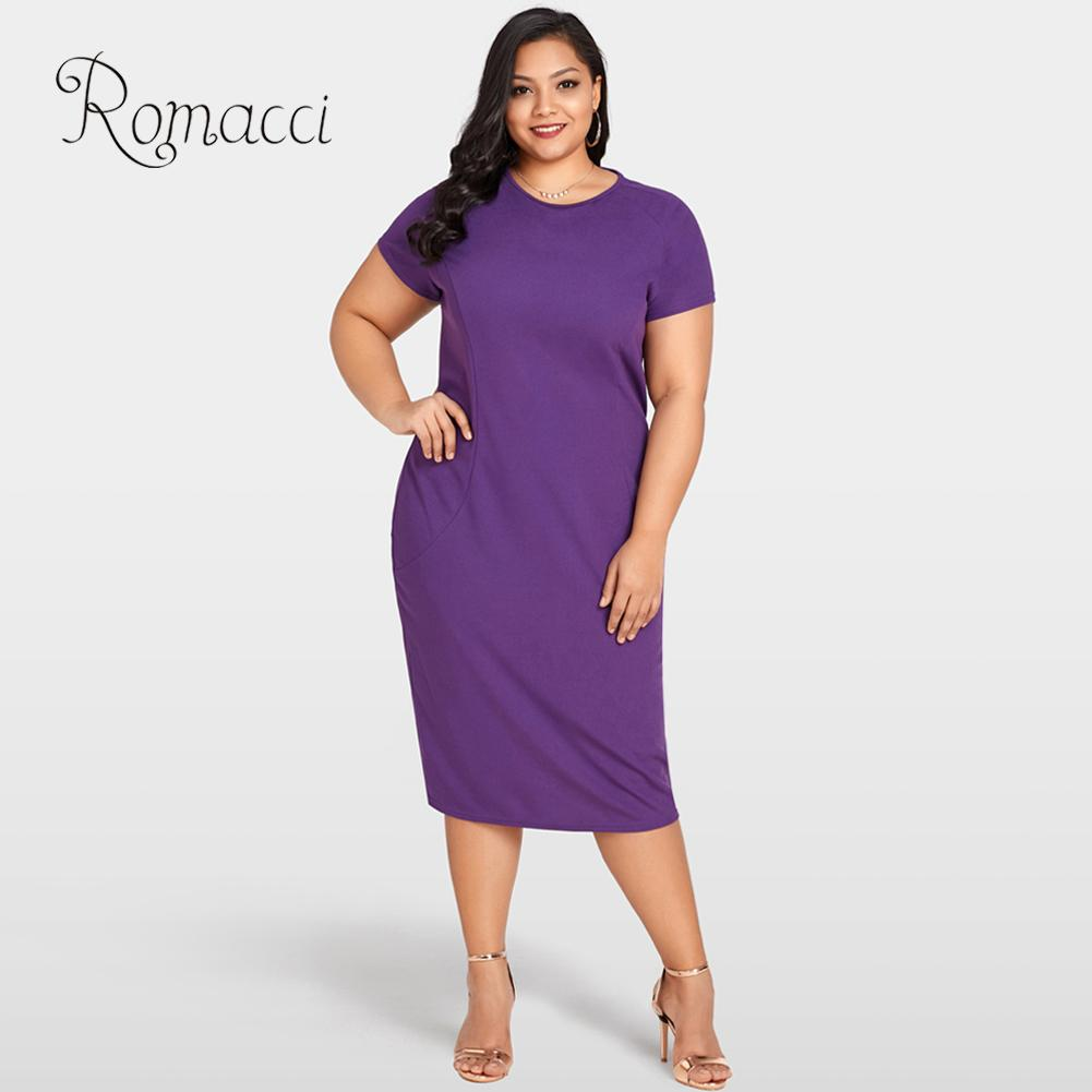 Romacci Summer Clothes for Women Sexy Plus Size Bodycon Dress O Neck Short  Sleeve Back Zipper Evening Club Party Purple Dress-in Dresses from Women s  ... 78ae66111ba7