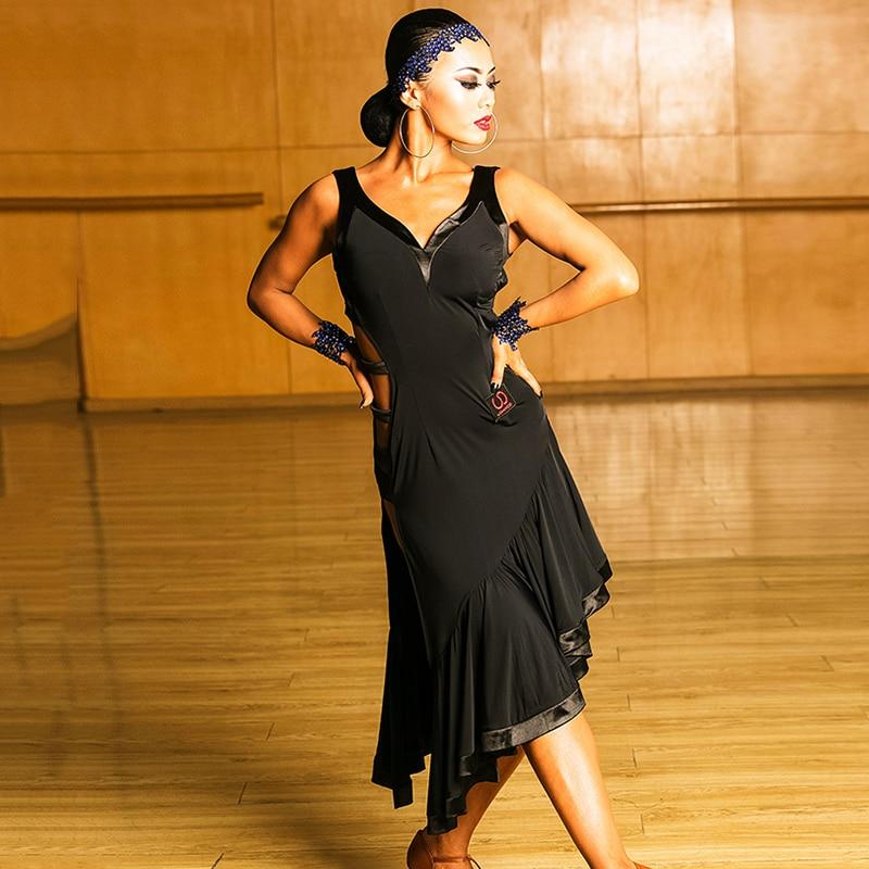 Robe de danse latine Sexy femmes salle de bal noire Tango Cha Samba Rumba Salsa robes de compétition Performance danse porter YYT101