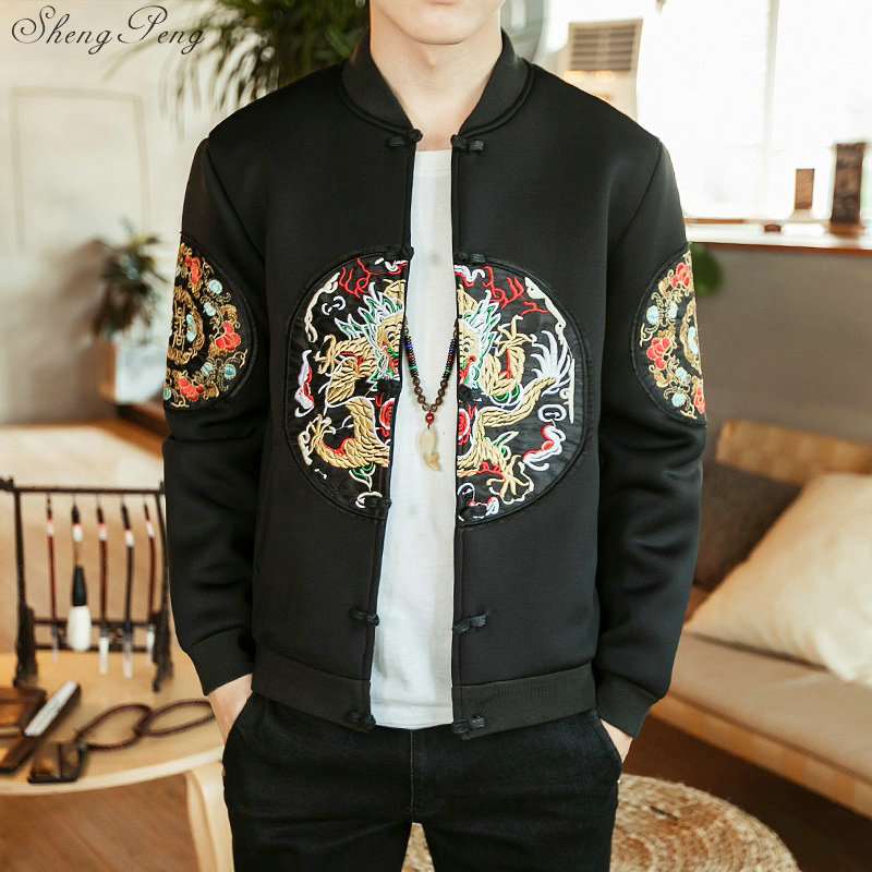 Traditional chinese clothing chinese jacket dragon embroidery jackets chinese traditional men clothing Cheongsam Top Q571 Одежда