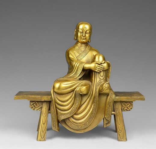 8 Тибет Буддизм латунь Медь храм Bench Будда Архат бодхисаттвы монах статуя