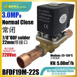 Bi przepływu zawór elektromagnetyczny z 22mm ODF rura lutownicza jest głównie zainstalowany w pompy ciepła agregat wody lub stała temperatura maszyna do|Części do nagrzewnicy wodnej i pompy ciepła|AGD -