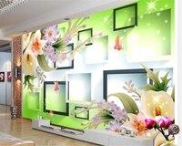 Beibehang Papel De Parede Wall Paper Fantasy Fashion Premium 3d Wallpaper Jade Sculpture Star Lily TV