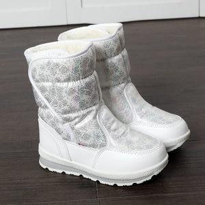 Image 4 - Белые сапоги для девочек, зимние сапоги маленькой принцессы, Красивые Зимние мини сапоги, размер 25 41, простые сапоги на липучке