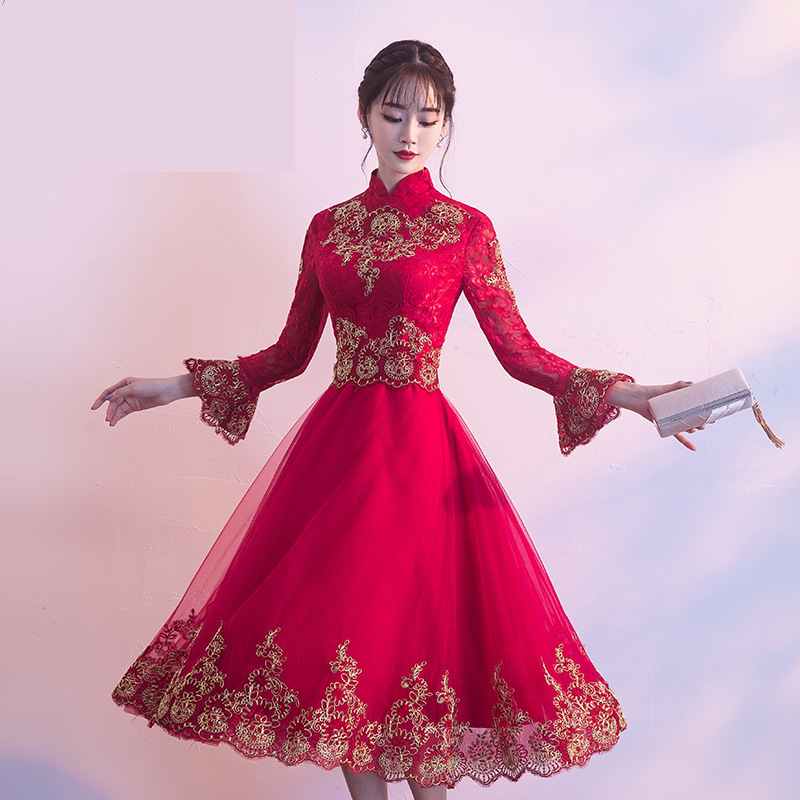 Traditional Chinese Fashion Evening Gown Cheongsam Dress Sexy Qipao ...