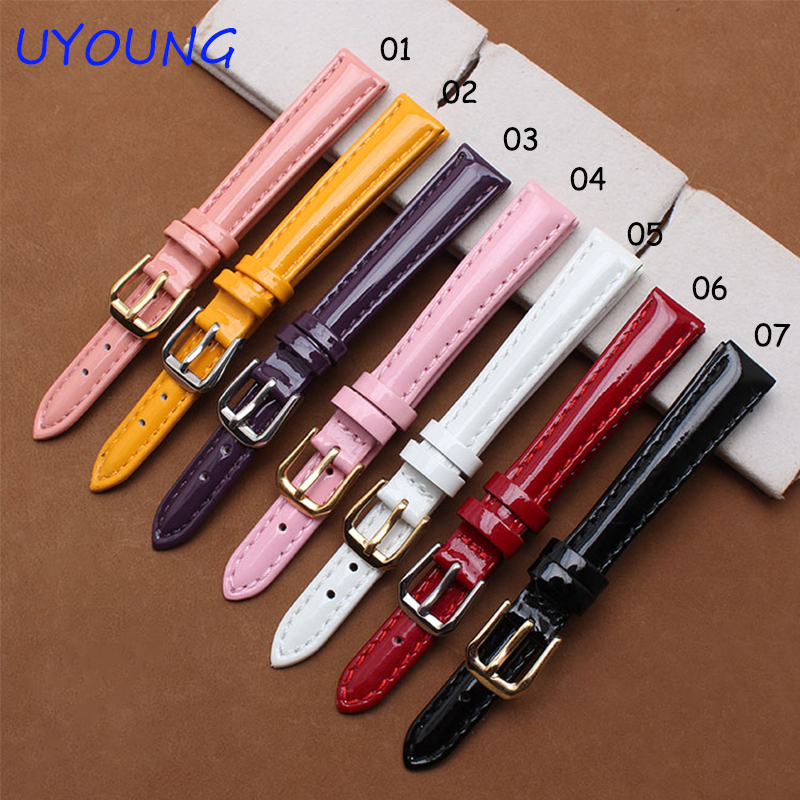 Small Size Genuine Leather Watchbands 12mm 14mm 16mm Colour High light watch Bracelet For Women Strap