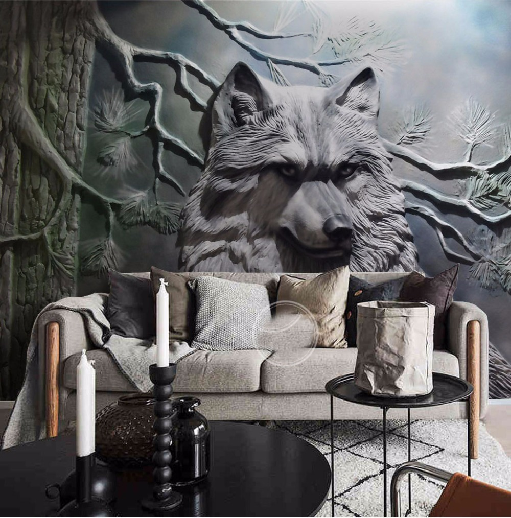 Large Murals Animal Wolf Forest Wallpaper Murals 3d Wall Photo Mural for Living Room Backdrop 3d Wolf Wall Murals 3D Wall paper custom photo wallpaper 3d wall murals balloon shell seagull wallpapers landscape murals wall paper for living room 3d wall mural