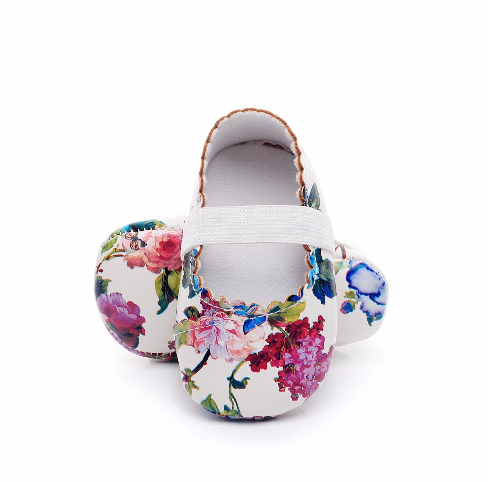 WONBO Hot sell floral style soft sole pu leather baby girls dress princess shoes baby moccasins mary jane shoes first walkers