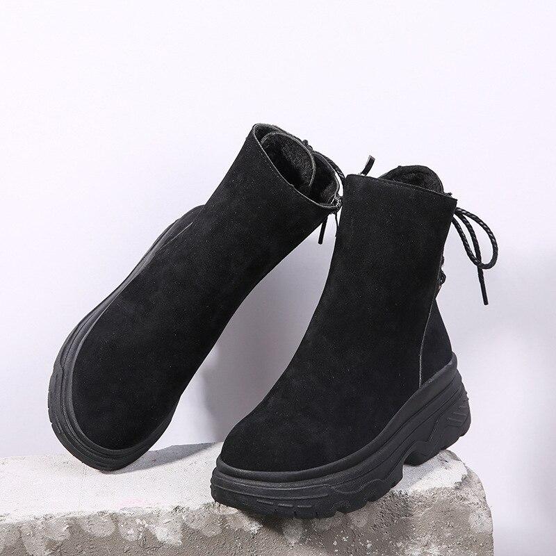 Hiver Bureau Femme slip Solide Non Croix Noir Bottes Printemps Chaussures Nouveau Zip Rétro Sarairis Cheville marron Noir Martin Liée Casual Sx6wBACnqF