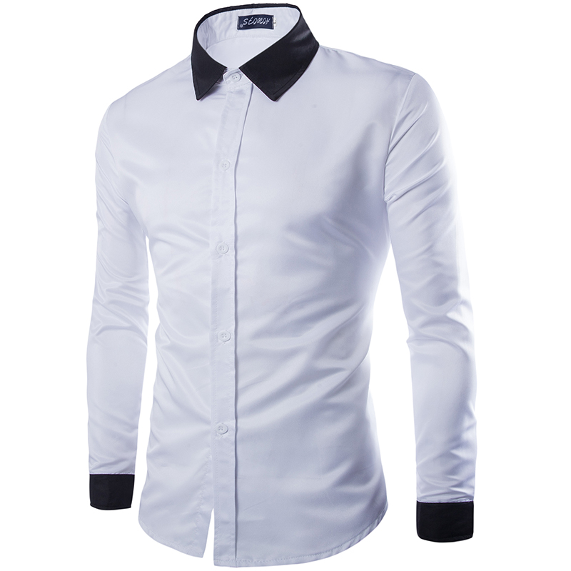 2016 Men S Fashion Solid Color Shirt Stitching Design Leisure Slim
