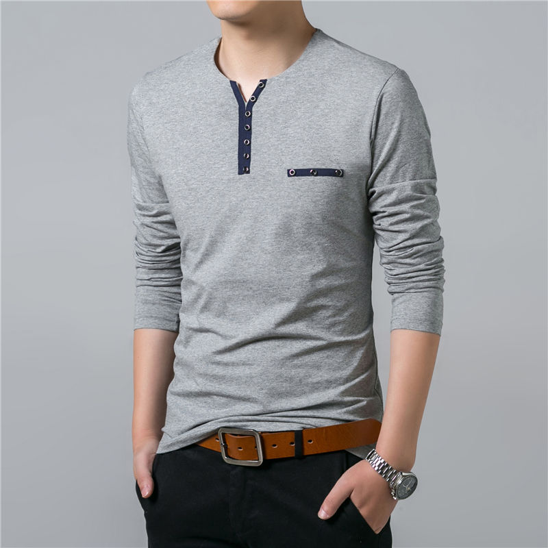 HTB1PeqKGnJYBeNjy1zeq6yhzVXaa - COODRONY Cotton T Shirt Men 2018 Spring Autumn New Long Sleeve T-Shirt Men Henry Collar Tee Shirt Men Fashion Casual Tops 7617
