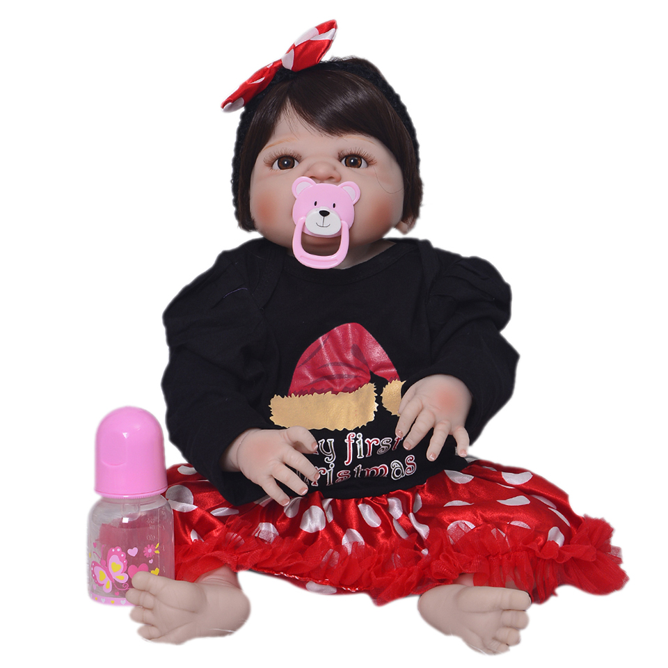 все цены на Design for Girl Christmas Reborn Dolls Realistic Babies 23 Inch Full Silicone Vinyl Lifelike Newborn Baby Dolls Kids Toys