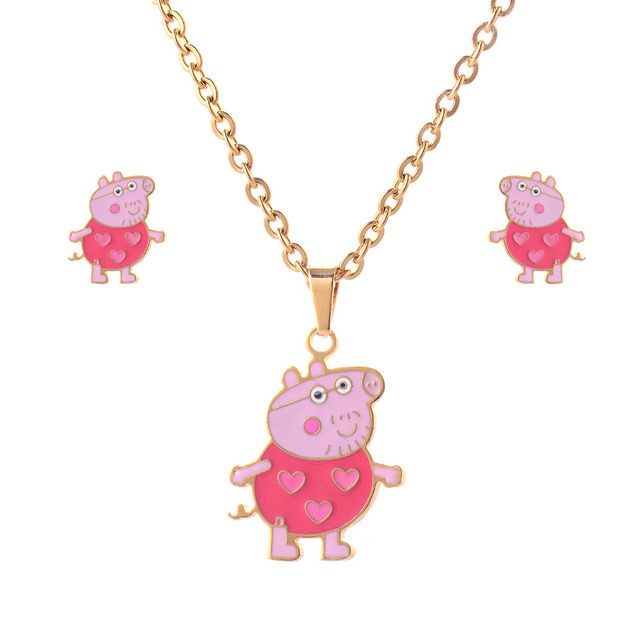 Aliexpress buy newest design stainless steel lovely pink pig newest design stainless steel lovely pink pig pendant necklace stud earrings jewelry sets fashion cartoon jewelry mozeypictures Gallery