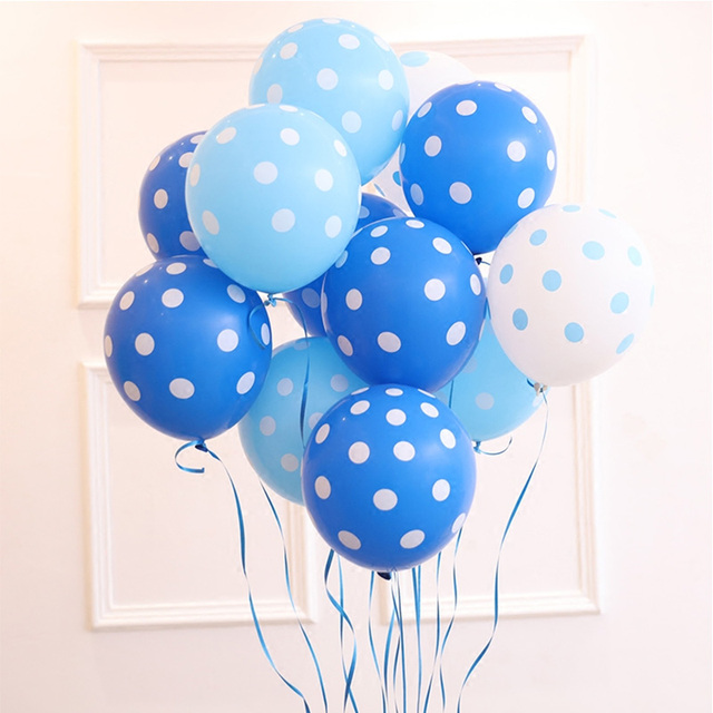 20pcs Dot balloons birthday party wedding 12 inch white light blue latex balloon Air Balls Inflatable Helium party balloons