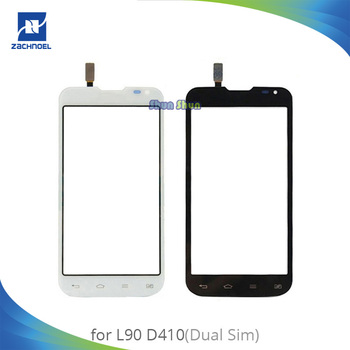 4,7 ''D410 de pantalla para LG L90 Dual Sim D410 digitalizador de pantalla táctil de lente de cristal frontal de Panel blanco y negro piezas del teléfono móvil