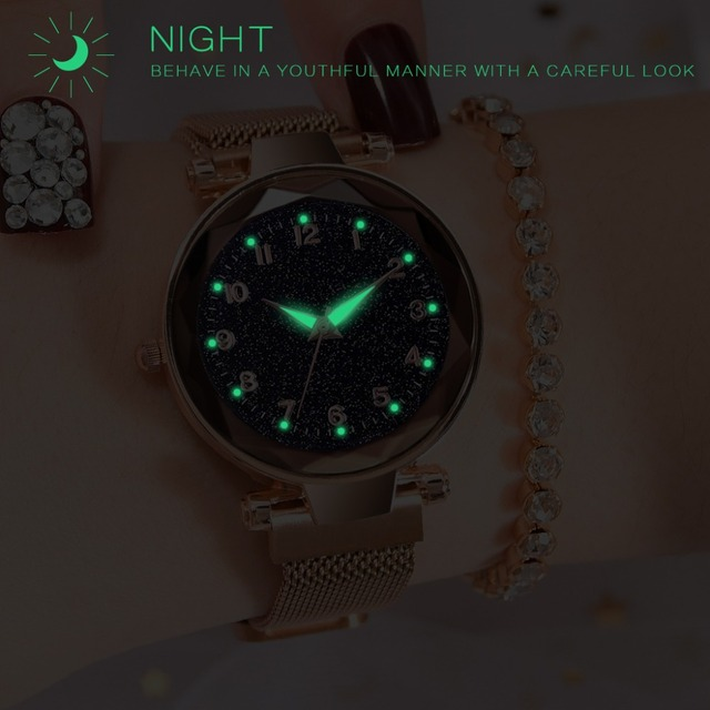 Luxury Luminous Women Watches Starry Sky Magnetic Female Wristwatch Waterproof Rhinestone Clock relogio feminino montre femme 1