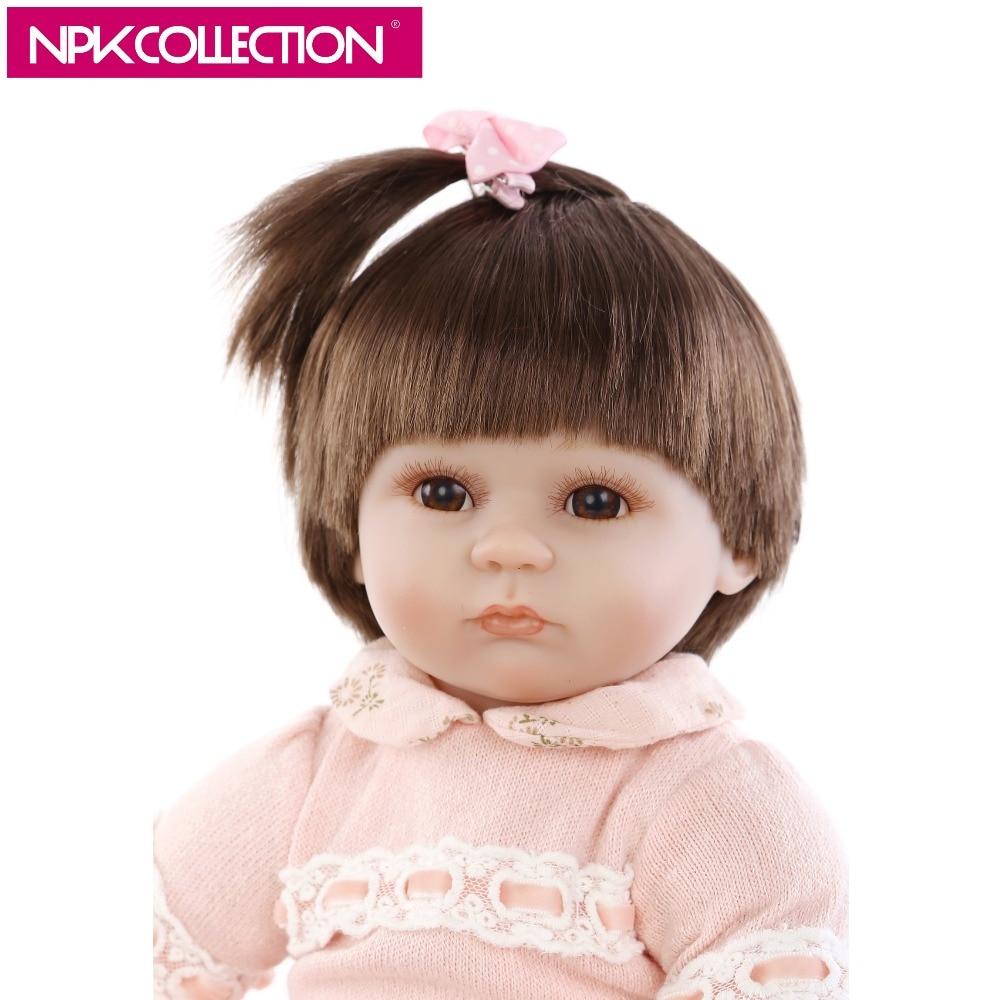 NPK 17 Inch Handmade Vinyl Silicone Reborn Baby Girl Doll Soft Touch Silicone Toy Doll Lol Bebe Boneca Christmas Birthday Gift