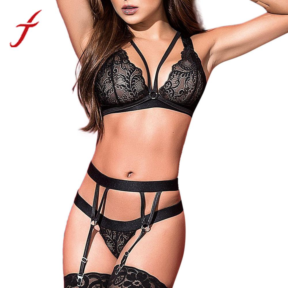 Feitong Super Sexy Women Lingerie Bra Sets Plus Size Sexy Lace Tights Bodysuit Garters Bandage Set Underwear lenceria femenina Купальник