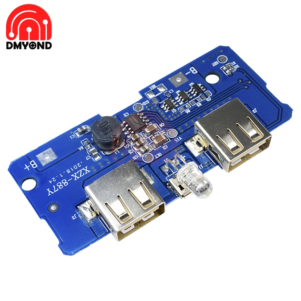 DC 5V 2A Power Bank Charger Charging Circuit Module Step Up Board Boost Power Supply Module 2A Dual USB Two USB Output 1A Input