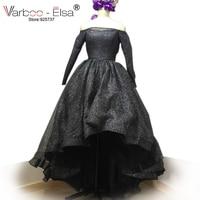 VARBOO ELSA Off Shoulder Long Sleeve Evening Prom Dresses Bling Bling Short Front Long Back High