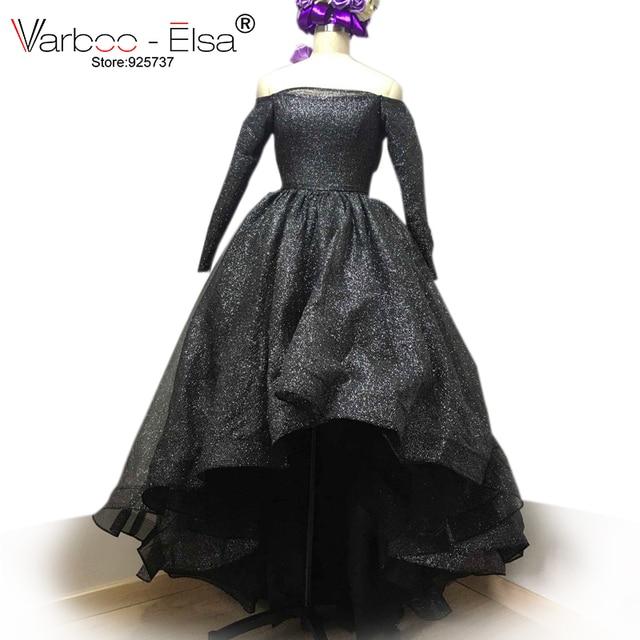 fa0f680b11c0b0 VARBOO ELSA Off Shoulder Long Sleeve Evening prom Dresses Bling Bling Short  Front Long Back High Low
