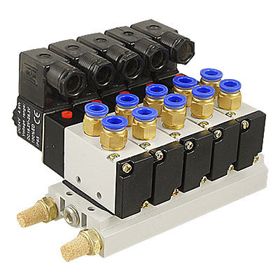 DC 12V Single Head 2 Position 5 Way 5 Pneumatic Solenoid Valve w Base Aywvu