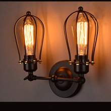Loft vintage wrought iron material wall lighting edison style wall lamp for coffee shop countryside room with two bulbs