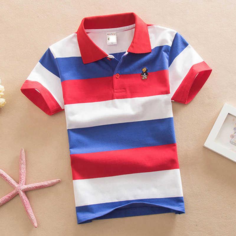 Szkolne koszulki Polo 2020 letnie dzieci z krótkim rękawem chłopcy koszulka Polo w paski dzieci chłopiec topy koszulki bawełniane dziewczyny chłopcy koszulki Polo