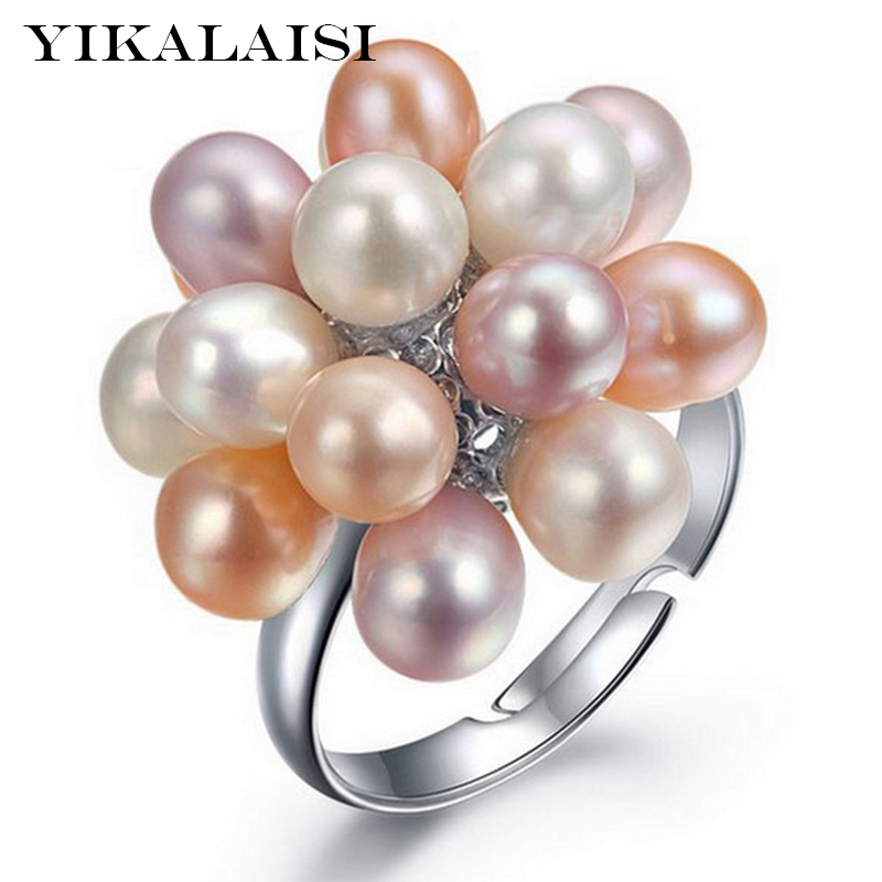 YIKALAISI Natural Freshwater Drop Pearl Ring Smykker 4-5mm Flower Adjustable Rings For Women Hvit Rosa Multi Black farge