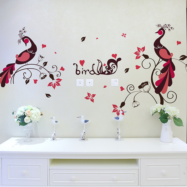couples birds peacock home love decoration wall stickers beautiful