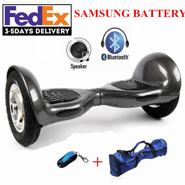 Electric Skateboard 10 inch Scooter Two Wheels Smart Balance Hoverboard with LED Bluetooth Speaker Romote Control and Bag No Tax 2017 new 4 wheels electric skateboard scooter 600w with bluetooth remote controller replaceable dual hub motor 30km h for adults
