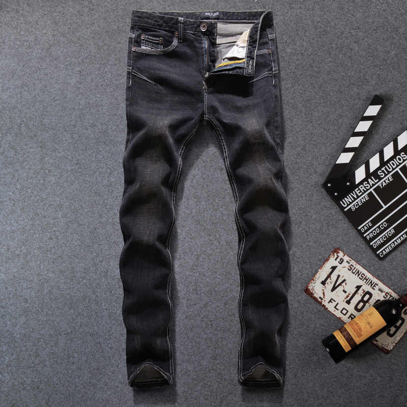 Винтаж классические джинсы Для мужчин в стиле панк Elastic Тощая пригонка Повседневное штаны брендовые хлопковые хип-хоп джинсы Homme стрейч черные джинсы