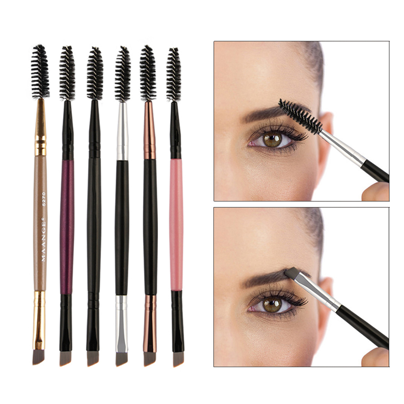 Double ended Eyebrow Brush Multicolor Wood Handle Eyelashes Eyebrow Flat Angled Brush Comb Eye Makeup Cosmetic Brushes in Eye Shadow Applicator from Beauty Health