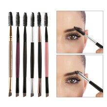 Double-ended Eyebrow Brush Multicolor Wood Handle Eyelashes Flat Angled Comb Eye Makeup Cosmetic Brushes