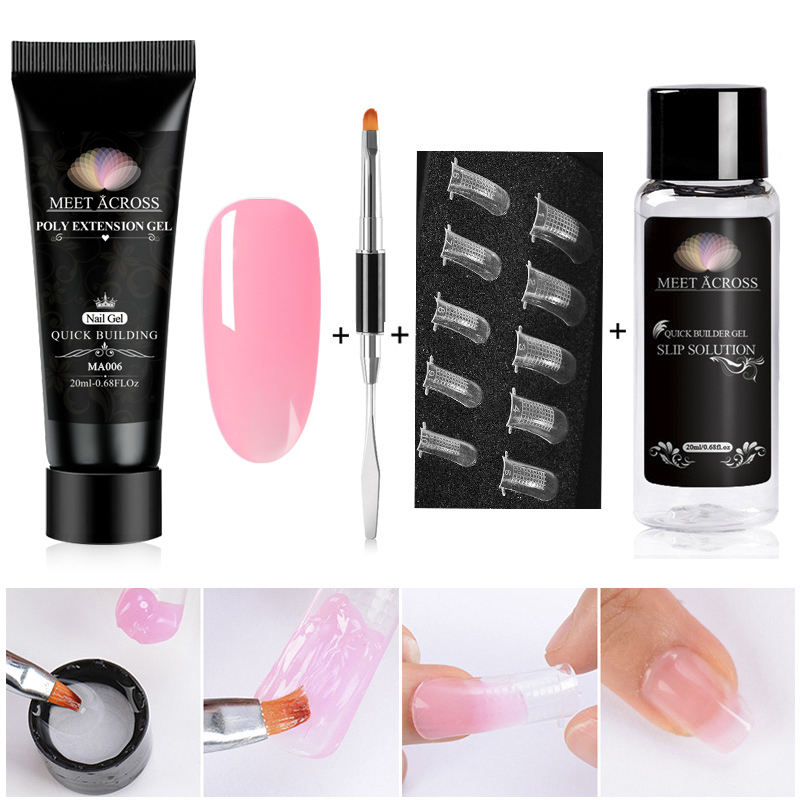 MEET ACROSS Poly Extention Gel Kits Nail Art French Nail Clear Camouflage Color Nail Tip Crystal Uv