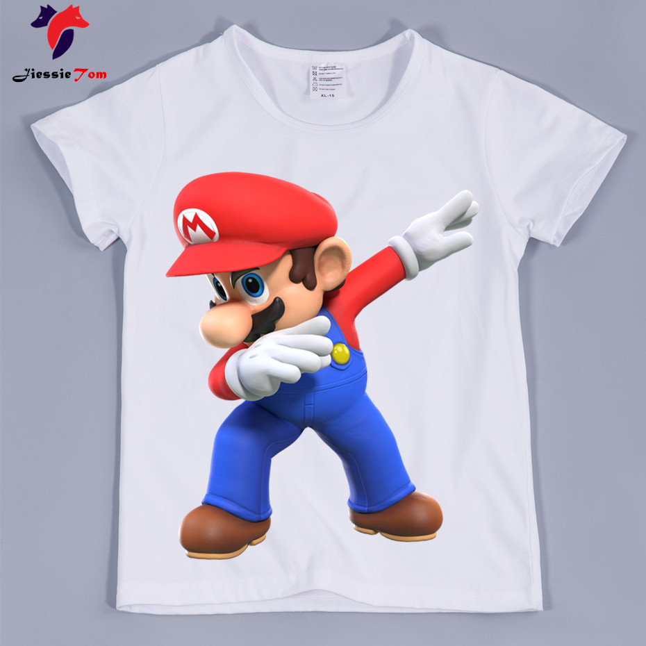 Children THE Super Mario Cartoon Fashion T-shirt Kids Short Sleeves Super Bros Game T Shirt 2018 Kids Tops Tee Baby Clothes стоимость