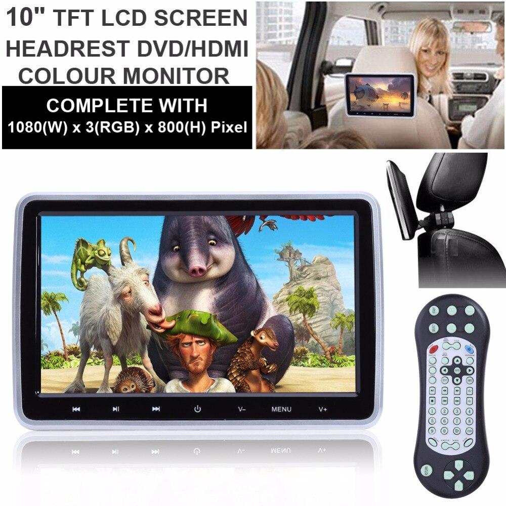10 1 HD Digital LCD Screen Car Headrest Monitor DVD USB SD Player IR FM Radio