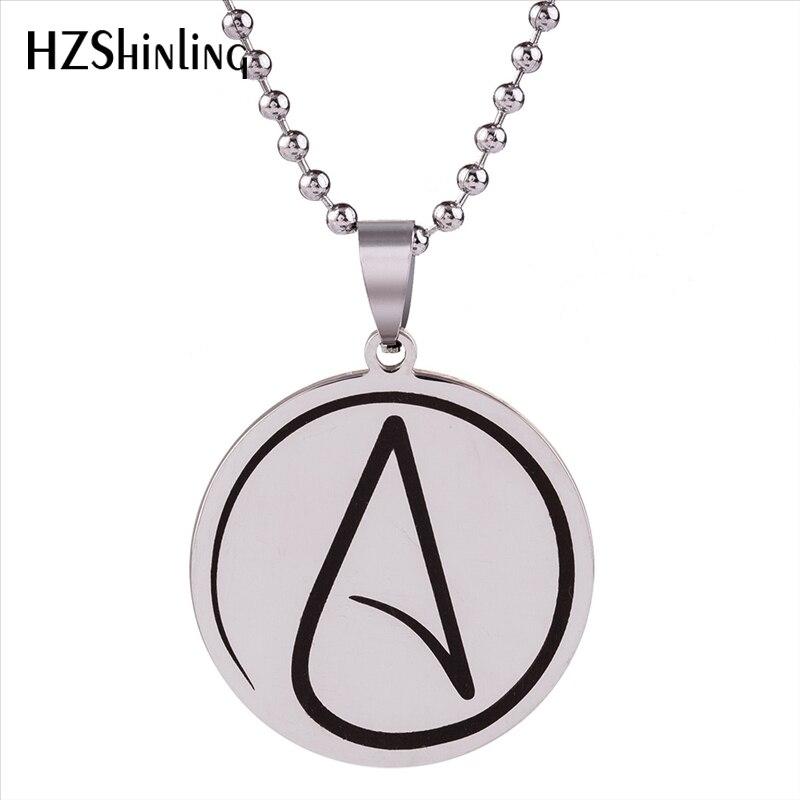 2018 New Atheist Symbol Pendant Antitheist Necklace Stainless Steel Chain Silver Jewelry Fashion Chain Gifts Men Women HZ7