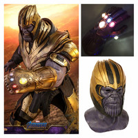 New Avengers Endgame Thanos Cosplay Mask Latex Helmet Infinity Gauntlet LED Gloves Kids Adult Halloween Exquisite Toy Props 2019